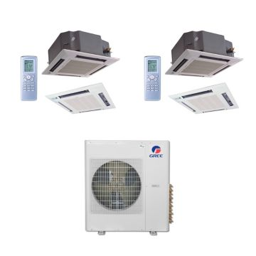 Gree MULTI36BCAS204 - 36,000 BTU Multi21 Dual-Zone Ceiling Cassette Mini Split Air Conditioner Heat Pump 208-230V (12-12)