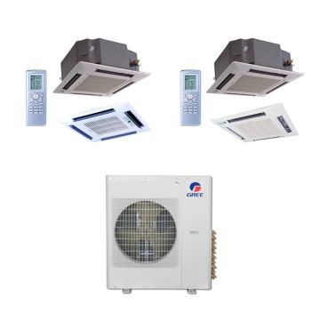 Gree MULTI36BCAS206 - 36,000 BTU Multi21 Dual-Zone Ceiling Cassette Mini Split Air Conditioner Heat Pump 208-230V (12-24)