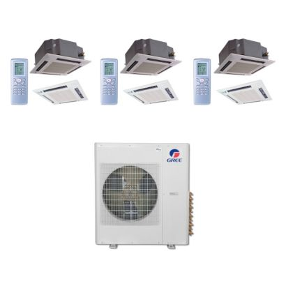 Gree MULTI36BCAS308 - 36,000 BTU Multi21 Tri-Zone Ceiling Cassette Mini Split Air Conditioner Heat Pump 208-230V (12-12-12)