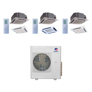 Gree MULTI36BCAS310 - 36,000 BTU Multi21 Tri-Zone Ceiling Cassette Mini Split Air Conditioner with Heat Pump 220V (12-12-24)