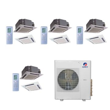Gree MULTI36BCAS406 -36,000 BTU Multi21 Quad-Zone Ceiling Cassette Mini Split Air Conditioner with Heat Pump 220V (12-12-12)