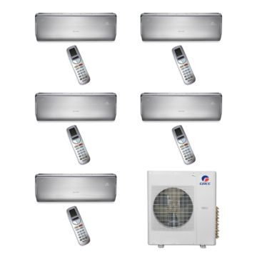 Gree MULTI36BCROWN501-36,000 BTU Multi21 Penta-Zone Wall Mounted Mini Split Air Conditioner with Heat Pump 220V (9-9-9-9-12)