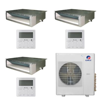 Gree MULTI36BDUCT309 - 36,000 BTU Multi21 Tri-Zone Concealed Duct Mini Split Air Conditioner Heat Pump 208-230V (12-12-18)