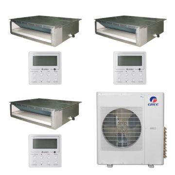 Gree MULTI36BDUCT310 - 36,000 BTU Multi21 Tri-Zone Concealed Duct Mini Split Air Conditioner with Heat Pump 220V (12-12-24)