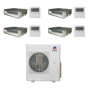 Gree MULTI36BDUCT404 -36,000 BTU Multi21 Quad-Zone Concealed Duct Mini Split Air Conditioner with Heat Pump 220V (9-9-12-18)