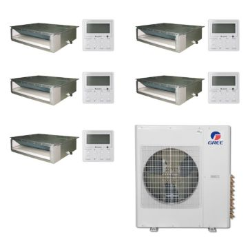 Gree MULTI36BDUCT500 -36,000 BTU Multi21 Penta-Zone Concealed Duct Mini Split Air Conditioner Heat Pump 208-230V (9-9-9-9-9)