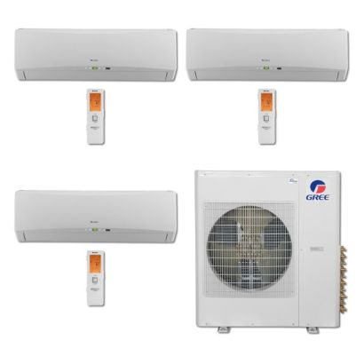 Gree MULTI36BTERRA301 - 36,000 BTU Multi21 Tri-Zone Wall Mount Mini Split Air Conditioner Heat Pump 208-230V (9-9-12)