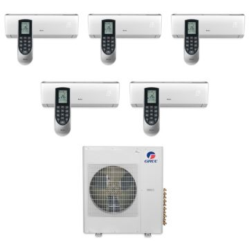 Gree MULTI36BVIR501 - 36,000 BTU Multi21 Penta-Zone Wall Mounted Mini Split Air Conditioner with Heat Pump 220V (9-9-9-9-12)