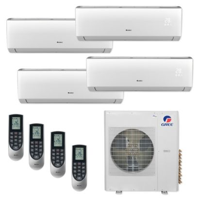 Gree MULTI36CLIV406 - 36,000 BTU Multi21+ Quad-Zone Wall Mount Mini Split Air Conditioner Heat Pump 208-230V (12-12-12-12)