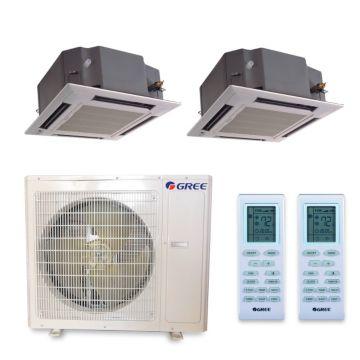 Gree MULTI36HP225 - 36,000 BTU +Multi Dual-Zone Ceiling Cassette Mini Split Air Conditioner Heat Pump 208-230V (18-18)