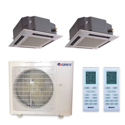 Gree MULTI36HP225 - 36,000 BTU +Multi Dual-Zone Ceiling Cassette Mini Split Air Conditioner Heat Pump 208-230V (18-18)