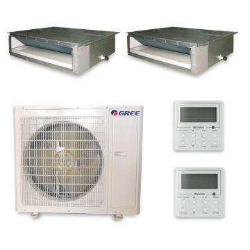 Gree MULTI36HP235 - 36,000 BTU +Multi Dual-Zone Concealed Duct Mini Split Air Conditioner with Heat Pump 220V (18-18)