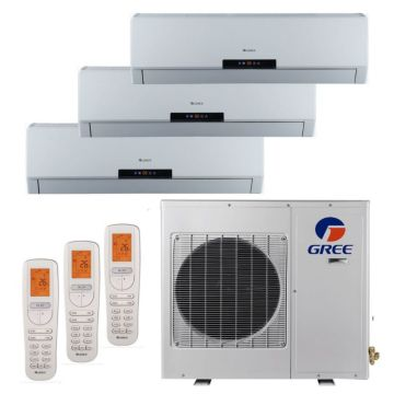 Gree MULTI36HP305 - 36,000 BTU +Multi Tri-Zone Wall Mount Mini Split Air Conditioner Heat Pump 208-230V (9-18-18)