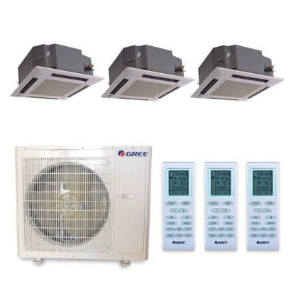 Gree MULTI36HP326 - 36,000 BTU +Multi Tri-Zone Ceiling Cassette Mini Split Air Conditioner Heat Pump 208-230V (12-12-12)