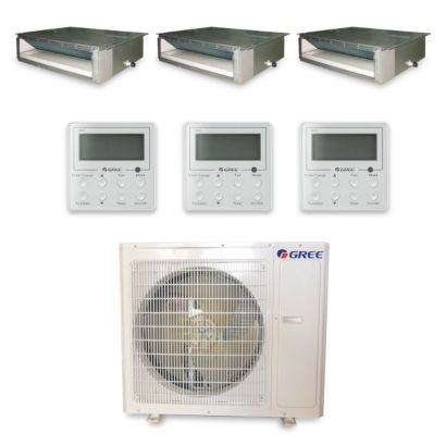 Gree MULTI36HP333 - 36,000 BTU +Multi Tri-Zone Concealed Duct Mini Split Air Conditioner Heat Pump 208-230V (9-12-12)