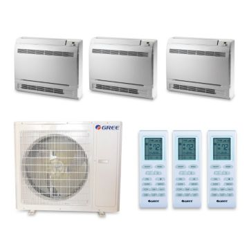 Gree MULTI36HP343 - 36,000 BTU +Multi Tri-Zone Floor Console Mini Split Air Conditioner Heat Pump 208-230V (9-12-12)