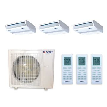 Gree MULTI36BCONS304 - 36,000 BTU +Multi Tri-Zone Floor Console Mini Split Air Conditioner Heat Pump 208-230V (9-12-12)