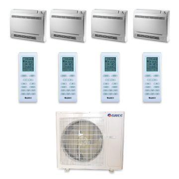 Gree MULTI36HP440 - 36,000 BTU +Multi Quad-Zone Floor Console Mini Split Air Conditioner Heat Pump 208-230V (9-9-9-9)