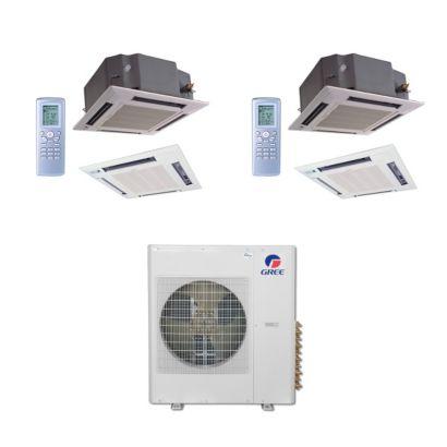 Gree MULTI42BCAS204 - 42,000 BTU Multi21 Dual-Zone Ceiling Cassette Mini Split Air Conditioner Heat Pump 208-230V (12-12)