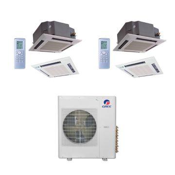 Gree MULTI42BCAS207 - 42,000 BTU Multi21 Dual-Zone Ceiling Cassette Mini Split Air Conditioner Heat Pump 208-230V (18-18)
