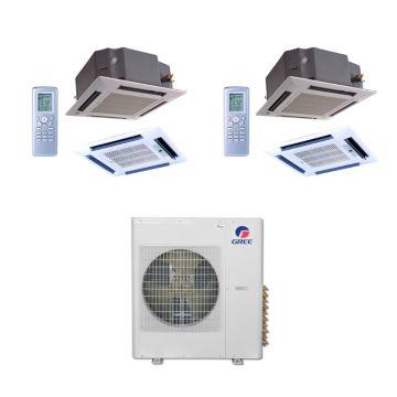 Gree MULTI42BCAS209 - 42,000 BTU Multi21 Dual-Zone Ceiling Cassette Mini Split Air Conditioner with Heat Pump 220V (24-24)
