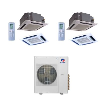 Gree MULTI42BCAS209 - 42,000 BTU Multi21 Dual-Zone Ceiling Cassette Mini Split Air Conditioner Heat Pump 208-230V (24-24)