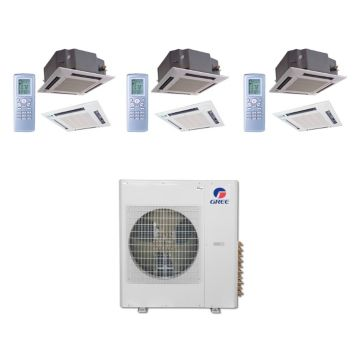 Gree MULTI42BCAS309 - 42,000 BTU Multi21 Tri-Zone Ceiling Cassette Mini Split Air Conditioner Heat Pump 208-230V (12-12-18)