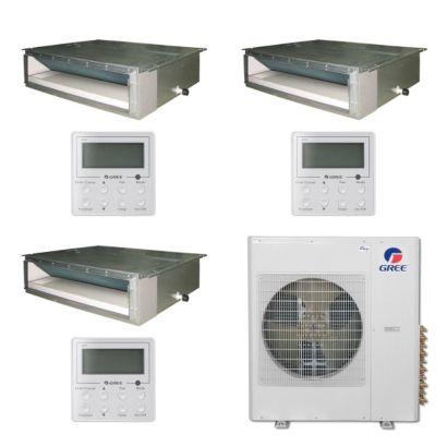 Gree MULTI42BDUCT300 - 42,000 BTU Multi21 Tri-Zone Concealed Duct Mini Split Air Conditioner Heat Pump 208-230V (9-9-9)