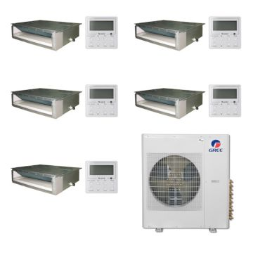 Gree MULTI42BDUCT500-42,000 BTU Multi21 Penta-Zone Concealed Duct Mini Split Air Conditioner with Heat Pump 220V (9-9-9-9-9)