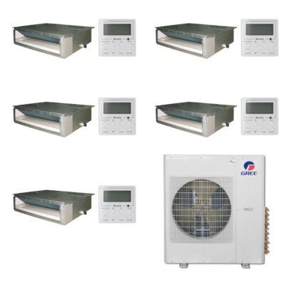 Gree MULTI42BDUCT500-42,000 BTU Multi21 Penta-Zone Concealed Duct Mini Split Air Conditioner Heat Pump 208-230V (9-9-9-9-9)