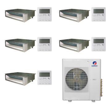 Gree MULTI42BDUCT501-42,000 BTU Multi21 Penta-Zone Concealed Duct Mini Split Air Conditioner with Heat Pump 220V(9-9-9-9-12)