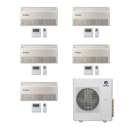 Gree MULTI42BFLR501 -42,000 BTU Multi21 Penta-Zone Floor/Ceiling Mini Split Air Conditioner Heat Pump 208-230V (9-9-9-9-12)