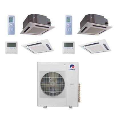 Gree MULTI42CCAS207 - 42,000 BTU Multi21+ Dual-Zone Ceiling Cassette Mini Split Air Conditioner Heat Pump 208-230V (18-18)