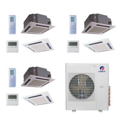 Gree MULTI42CCAS308 - 42,000 BTU Multi21+ Tri-Zone Ceiling Cassette Mini Split Air Conditioner Heat Pump 208-230V (12-12-12)