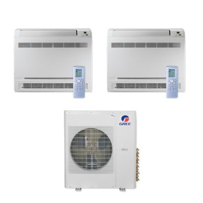 Gree MULTI42CCONS200 - 42,000 BTU Multi21+ Dual-Zone Floor Console Mini Split Air Conditioner Heat Pump 208-230V (9-9)
