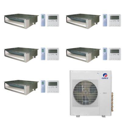 Gree MULTI42CDUCT501-42,000 BTU Multi21+ Penta-Zone Concealed Duct Mini Split Air Conditioner Heat Pump 208-230V(9-9-9-9-12)