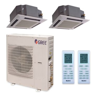Gree MULTI42HP228 - 42,000 BTU +Multi Dual-Zone Ceiling Cassette Mini Split Air Conditioner Heat Pump 208-230V (18-24)