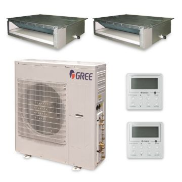 Gree MULTI42HP238 - 42,000 BTU +Multi Dual-Zone Concealed Duct Mini Split Air Conditioner Heat Pump 208-230V (18-24)