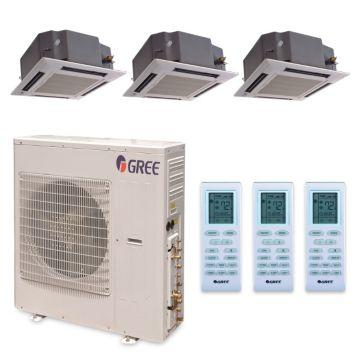 Gree MULTI42HP327 -  42,000 BTU +Multi Tri-Zone Ceiling Cassette Mini Split Air Conditioner Heat Pump 208-230V (12-12-18)