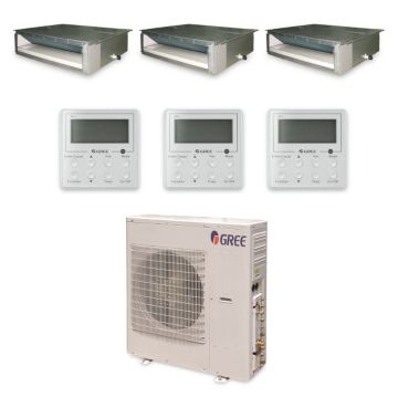 Gree MULTI42HP337 - 42,000 BTU +Multi Tri-Zone Concealed Duct Mini Split Air Conditioner with Heat Pump 220V (12-12-18)