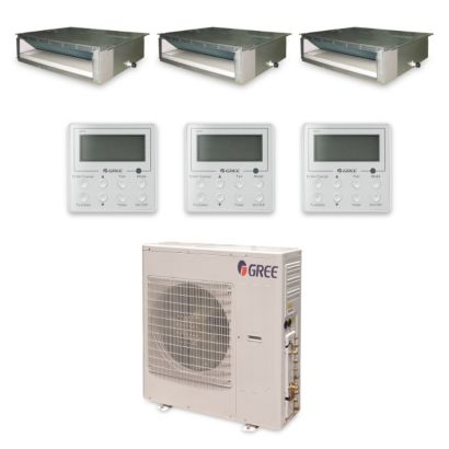 Gree MULTI42HP337 - 42,000 BTU +Multi Tri-Zone Concealed Duct Mini Split Air Conditioner Heat Pump 208-230V (12-12-18)