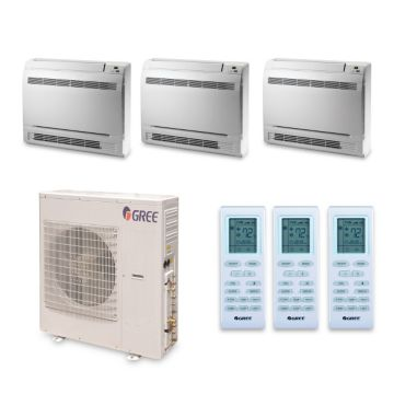 Gree MULTI42HP344 - 42,000 BTU +Multi Tri-Zone Floor Console Mini Split Air Conditioner Heat Pump 208-230V (9-12-18)