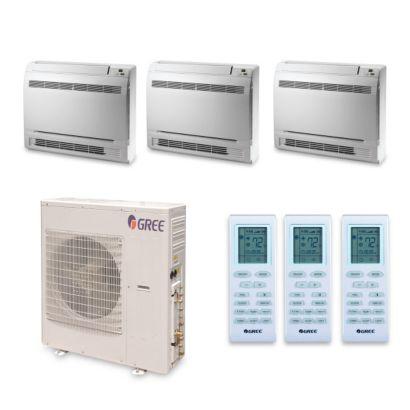 Gree MULTI42HP344 - 42,000 BTU +Multi Tri-Zone Floor Console Mini Split Air Conditioner Heat Pump 208-230V (9-12-18)