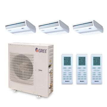 Gree MULTI42BCONS305 - 42,000 BTU +Multi Tri-Zone Floor Console Mini Split Air Conditioner Heat Pump 208-230V (9-12-18)