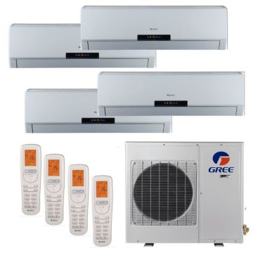 Gree MULTI42HP405 - 42,000 BTU +Multi Quad-Zone Wall Mounted Mini Split Air Conditioner with Heat Pump 220V (9-9-18-18)