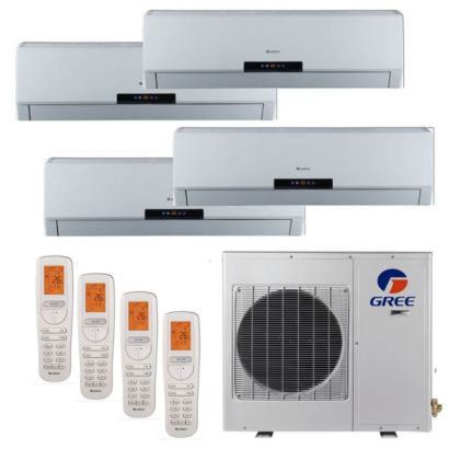 Gree MULTI42HP411 - 42,000 BTU +Multi Quad-Zone Wall Mount Mini Split Air Conditioner Heat Pump 208-230V (12k, (12-12-18)