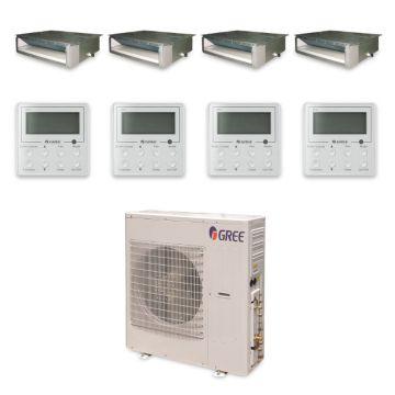 Gree MULTI42HP432 - 42,000 BTU +Multi Quad-Zone Concealed Duct Mini Split Air Conditioner with Heat Pump 220V (9-9-9-18)