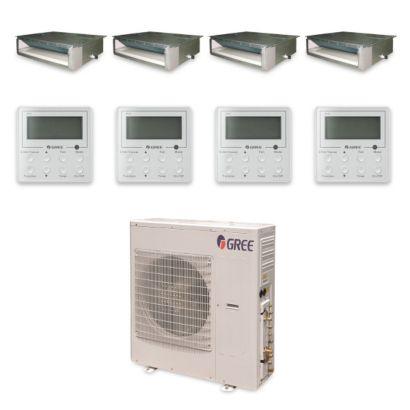 Gree MULTI42HP432 - 42,000 BTU +Multi Quad-Zone Concealed Duct Mini Split Air Conditioner Heat Pump 208-230V (9-9-9-18)