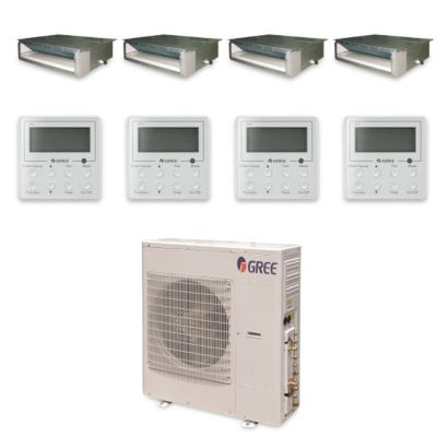 Gree MULTI42HP433 - 42,000 BTU +Multi Quad-Zone Concealed Duct Mini Split Air Conditioner Heat Pump 208-230V (9-9-12-12)