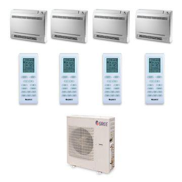 Gree MULTI42HP442 - 42,000 BTU +Multi Quad-Zone Floor Console Mini Split Air Conditioner Heat Pump 208-230V (9-9-9-18)